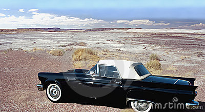 classic car in desert