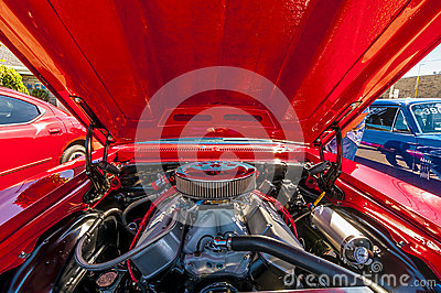 Classic car engine Editorial Stock Photo