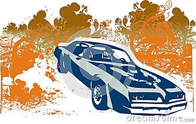 Classic car retro illustration