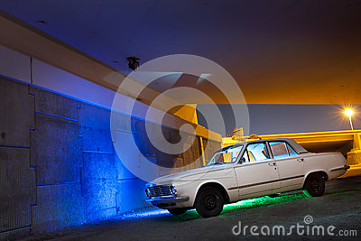 Classic Car under bridge
