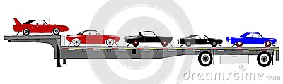 Classic cars on trailer