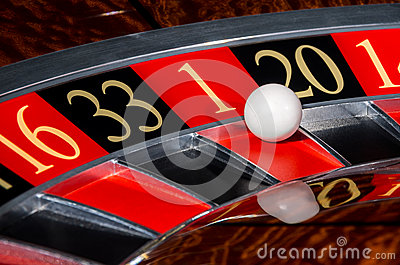 Classic casino roulette wheel with red sector one 1