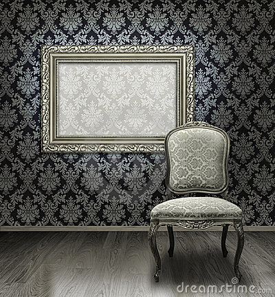 Classic chair and silver frame