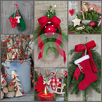 Classic christmas decoration country style with red, green, wood