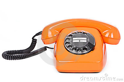 Classic dial phone on white