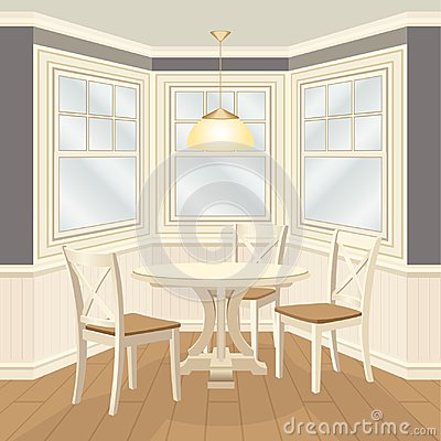 Free Classic Dinning Room With Round Table And Chairs Bay Window Royalty Free Stock Photos - 107105488