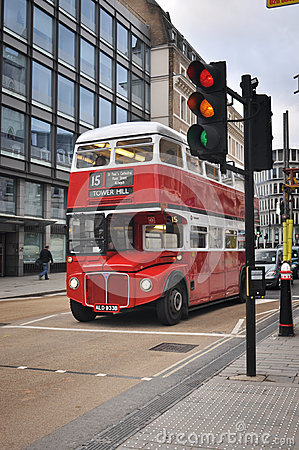 Classic double decker bus in London Editorial Stock Photo