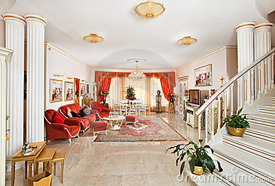 Classic drawing-room interior in red and golden