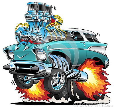 Classic Fifties Hot Rod Muscle Car Cartoon Vector Illustration Vector Illustration