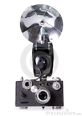 Classic Film Rangefinder Camera with Flash