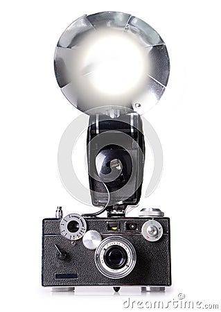 Classic Film Rangefinder Camera with Flash Firing
