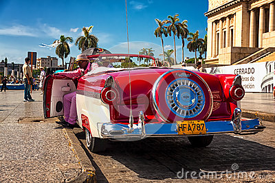 Classic Ford waiting for tourists in Havana Editorial Stock Photo