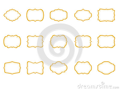 Classic Frames Set Of 15 Borders Clip Art Gold Etiquette Brackets