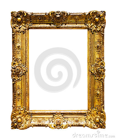 Classic gold frame over white