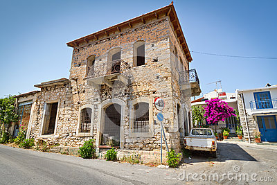 Classic Greek houses in small town of Lasithi Plat