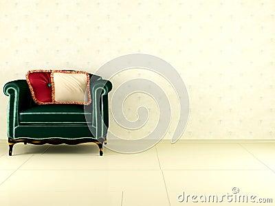 Classic green armchair indoor