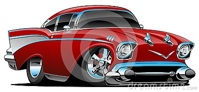 Classic hot rod 57 muscle car, low profile, big tires and rims, candy apple red, cartoon vector illustration Vector Illustration