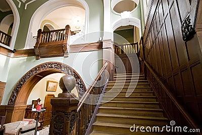 Classic hotel lobby stairs