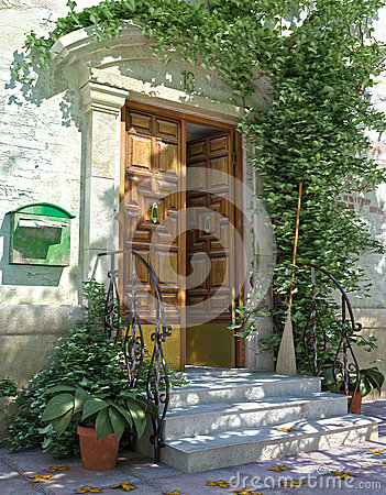 Classic house front door with stairs.