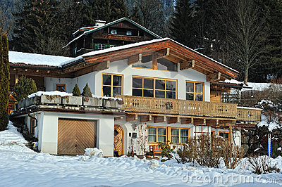 Classic house in winter time in Austria