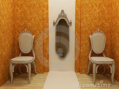 Classic Interior Design on Classic Interior Design  Two Armchairs With Mirror Stock Image   Image