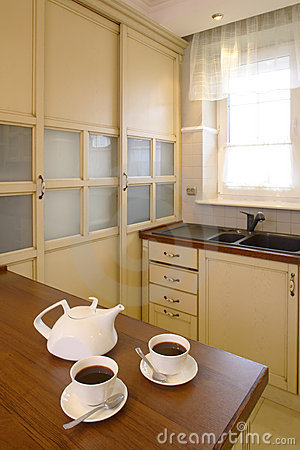 Classic Kitchen with Teapot And Cups