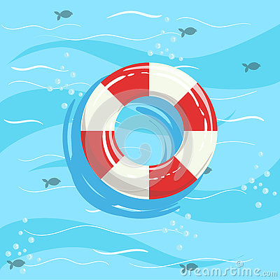 Free Classic Life Preserver Ring Buoy With Blue Sea Water On Background Stock Image - 78618491