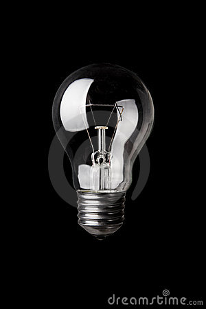 Classic Light Bulb on Black