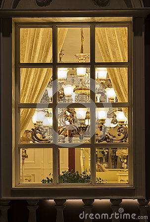 A classic lighting In a lighting shop window at night,home decoration commercial decoration house decoration christmas decorate