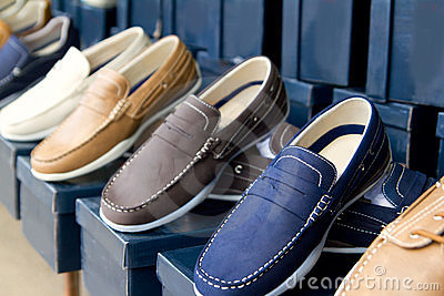 Classic man shoes colorful in a row