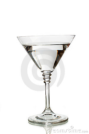 Classic martini glass filled with clear drink