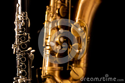 Classic music Sax tenor saxophone and clarinet in black