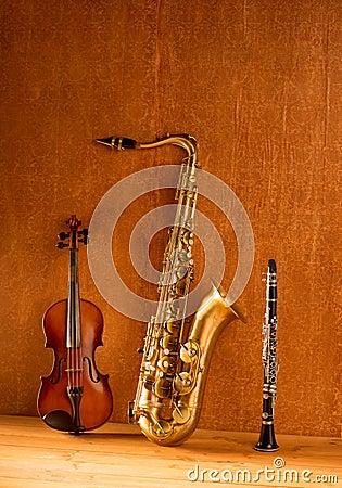 Classic music Sax tenor saxophone violin and clarinet vintage