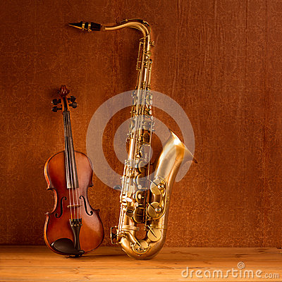 Classic music Sax tenor saxophone violin in vintage