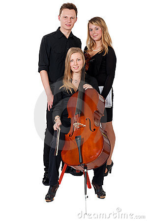 Classic music trio on white background
