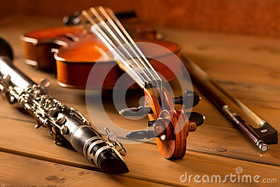 Classic music violin and clarinet in vintage wood