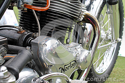 Classic Norton commando motorcycle engine Editorial Stock Image