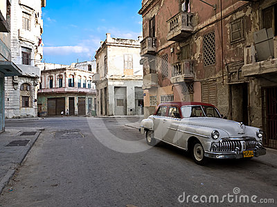 Classic old american car in Old Havana Editorial Stock Photo