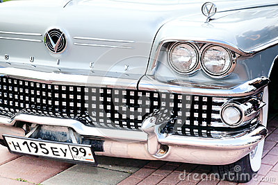 Classic old car close-up front right view Editorial Stock Photo