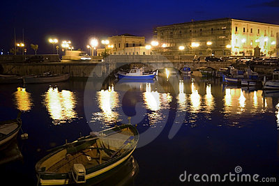 Classic Old Italy, night in Syracuse, Sicily