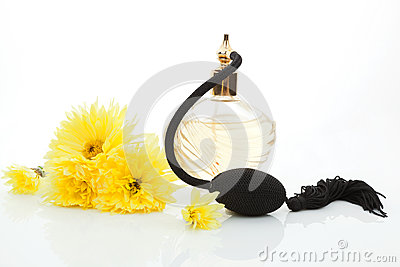 Classic old perfume with yellow flowers.