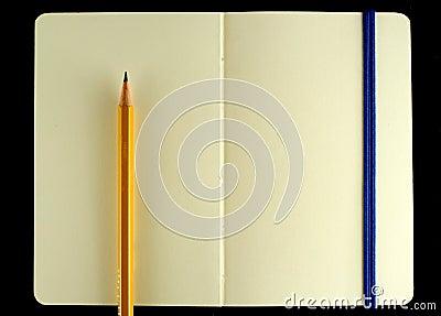 Classic opened moleskine note book