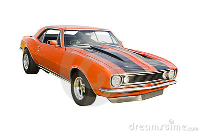 Classic orange muscle car