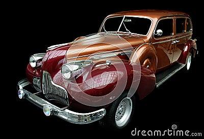 Classic orange retro car isolated