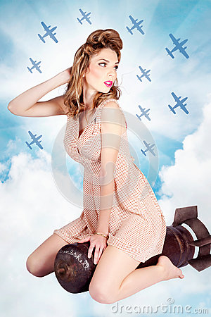 Free Classic Pinup Portrait. Female Beauty On War Bomb Royalty Free Stock Photos - 31579728