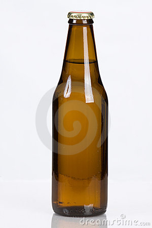 Classic plain brown glass beer bottle