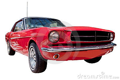 Classic red American muscle car isolated on white