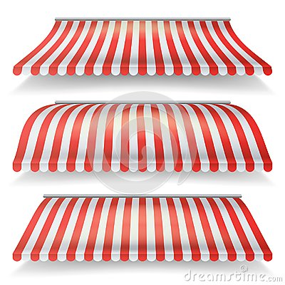 Free Classic Red And White Awning Vector Set. Realistic Store Awning Isolated On White Background Illustration Royalty Free Stock Photography - 99439407