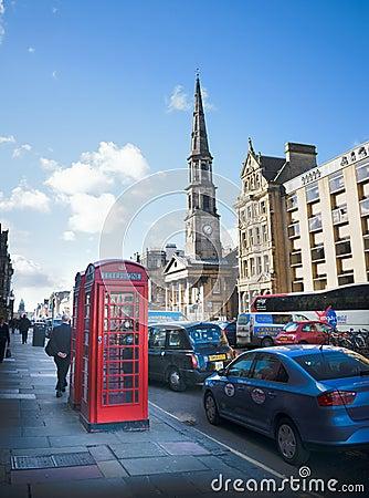 Classic red cabin in Edinburgh Editorial Stock Photo