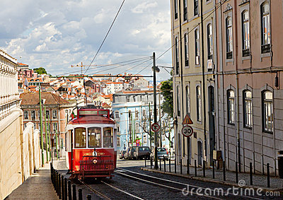 Classic red tram of Lisbon